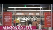 'Amazon Go Grocery Store' ending long queues in supermarket using technology.